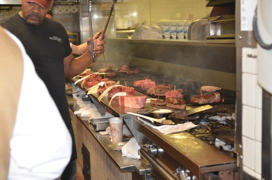 Bern's Steak House: Getting the steaks ready to cook.