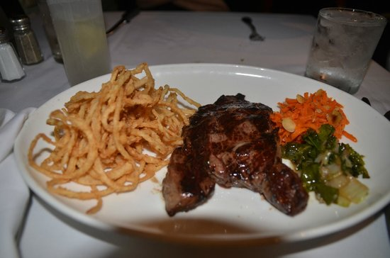 Bern's Steak House: Delmonico steak done to perfection with onion rings and vegetables