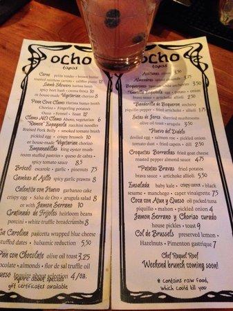 Ocho: Menu with Sagrada Familia cocktail