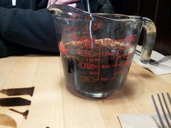 The Works: They serve your pop in measuring cups. Lol