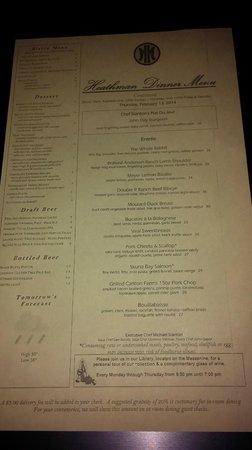 The Heathman Hotel: 2-13-2014 Dinner Menu Page 2 of 2