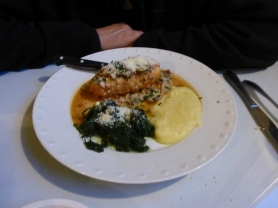 La Bella Vita: Rollatine Chicken (stuffed), spinach and bland polenta.