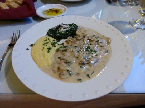 La Bella Vita: Veal swimming in cream sauce, spinach and bland polenta.