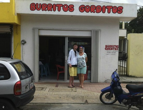 Burritos Gorditos: My Mom and son after our first lunch here