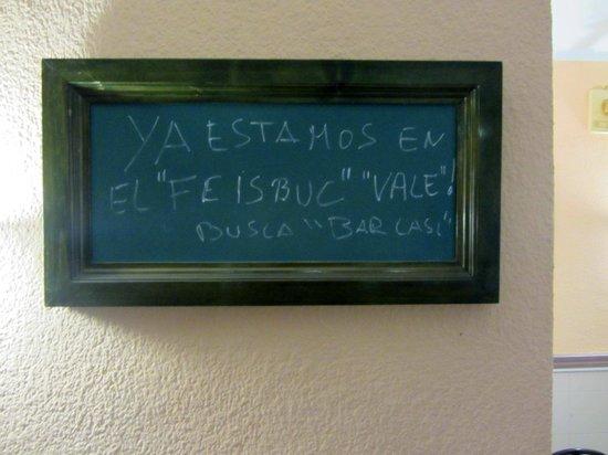 Bar CASI : cartello all'interno