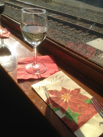 Napa Valley Wine Train: Welcoming ddrink, glass of wine with a view