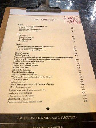 Restaurante Qu-Qu : The tapas menu