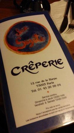Chez Suzette: menu