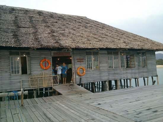 Telunas Beach Resort : dining and food prep /reception area from water