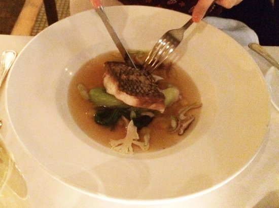 L'Ecole: Wild Black Bass with Miso Consomme