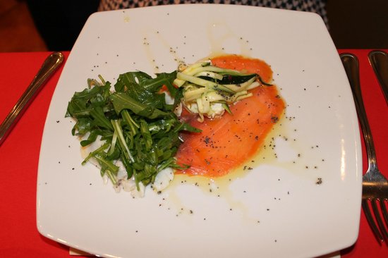 L'Allegro Bistro: salmone e spigola con zucchine croccanti e ricotta di bufala