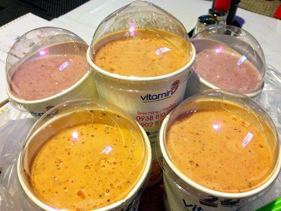 Vitamin9 - Smoothies Bar: Pineapple-strawberry-banana-blueberry (#22) and mango-banana-passion fruit-strawberry (#24) smoo