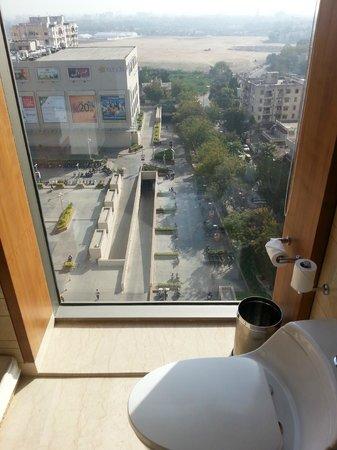 Hyatt Ahmedabad: View from window next to WC in Bathroom