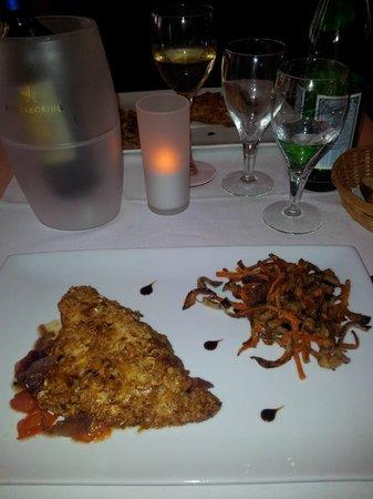 La Mia Cucina : Poisson croustillant d'amandes grillées et légumes craquants