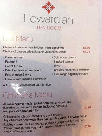 Birmingham Museum & Art Gallery: 'Deli' menu & children's menu