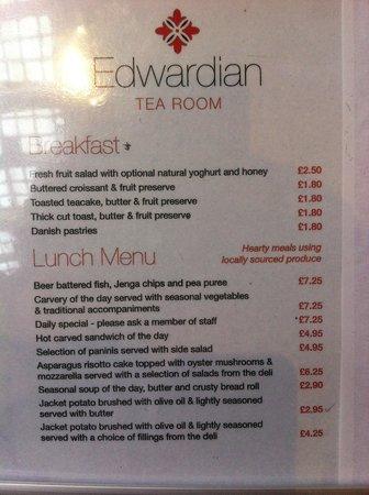 Birmingham Museum & Art Gallery: Breakfast & lunch menus