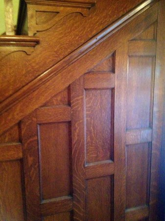 The Oliver-Leming House: Oak detail of stairway.