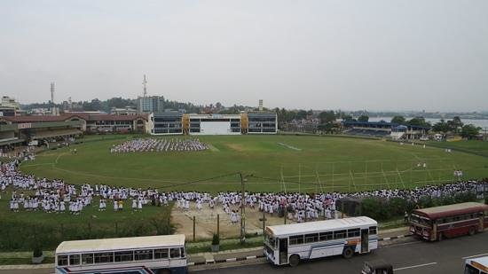 Galle Fort : The test match ground, girls rally in progress.
