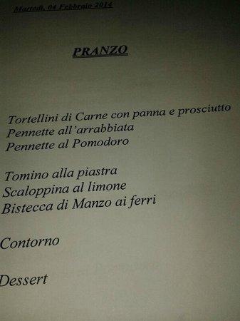 Dolce Casa Family Hotel & SPA : Menu del pranzo ridicolo al costo di 20 euro a persona!!!