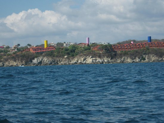 Las Brisas Huatulco: Las Brisas from Sea. Beginning of fishing trip