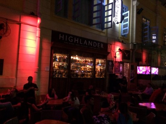 Highlander: Great band at night-- plays American cover songs.