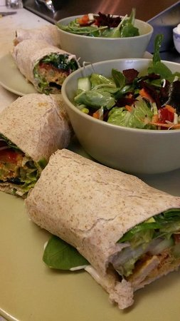 Crowsnest Cafe and Fly Shop: classic toasted wrap and salad
