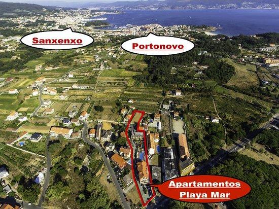 Apartamentos Playa Mar: Imagen aérea de referencia Sanxenxo y Portonovo.