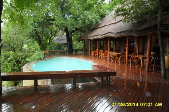 Imbali Safari Lodge: Pool off the dining area