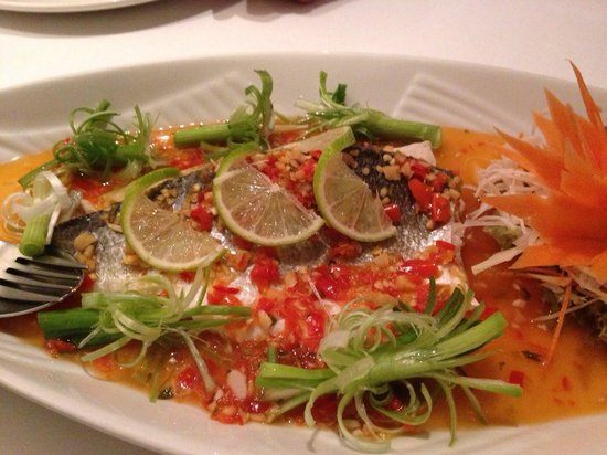 Phanthong Thai: Steamed Sea bass with Chilli and Lime juice.