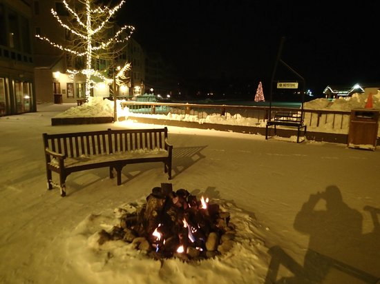 Open pit fireplace by the lake - Picture of Keystone Lodge & Spa ...
