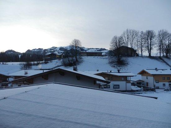 Jordan Pension: Views across farmland towards slopes