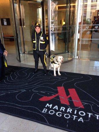 Bogota Marriott Hotel: Security dog and staff front the Marriott Bogota