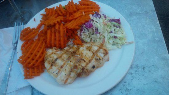 Fisherman's Market & Grill: White Sea Bass with Sweet Potato Fries and Coleslaw