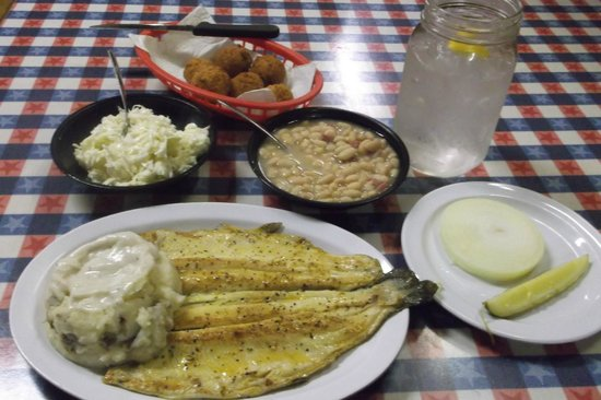 Huck Finn's Catfish: trout with vittles