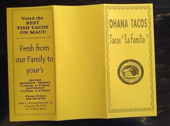 Ohana Tacos: Front Of The Menu