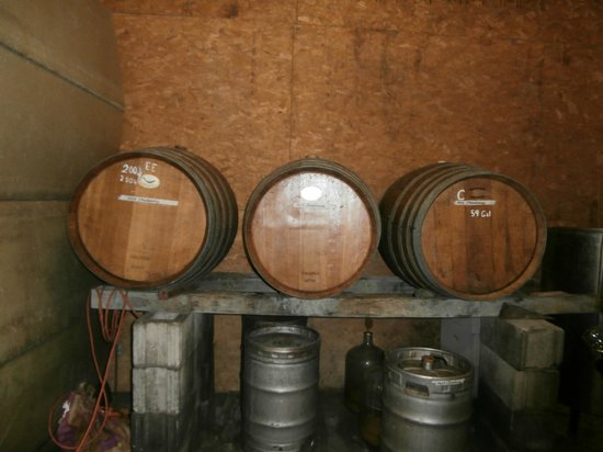 Brimstone Hill Winery: Barrels in the barn