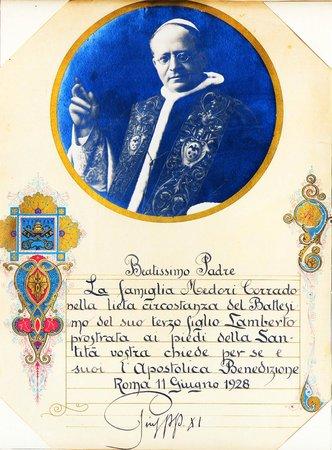 St. Peter Enthroned: Il mio storico attestato di Pio 11esimo