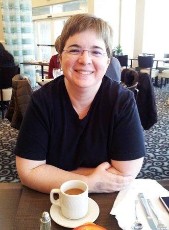 Hilton Garden Inn Lynchburg: My wife enjoying a cup of coffee before breakfast.