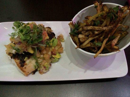 Textura Restaurant : Mahi Mahi on avocado salad with sweet potato fries.