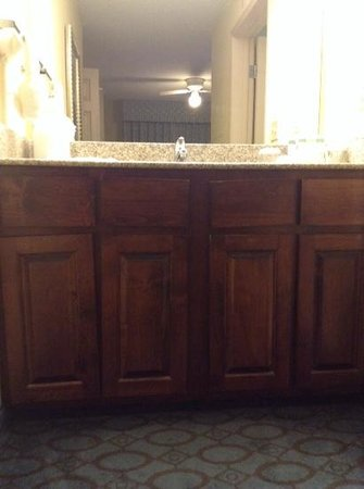 Homewood Suites by Hilton Nashville-Airport: Busted vanity loosely held together with sheetrock screws.