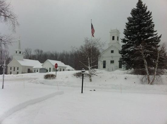 This is the view of quaint Temple,NH from the front porch of the Birchwood inn