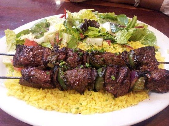 Sahaara Mediterrean Restaurant: Beef shish  kebab