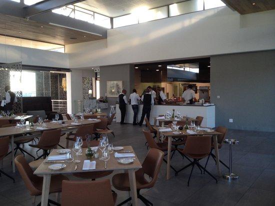 Equus Restaurant at Cavalli Stud and Wine Farm : Interior with open plan kitchen