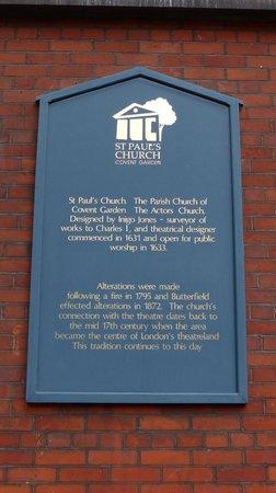 St. Paul's Church (The Actors' Church) : St. Paul's Church - sign