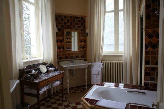 Chateau de Verriéres : 套房的卫生间,阳光充足,干净,拼花的小瓷砖色调温暖