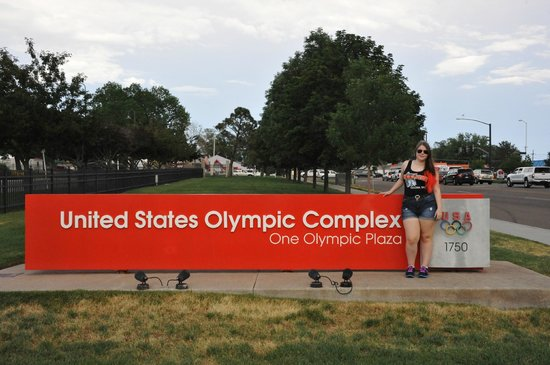Me in front of the Olympic Training Center sign.