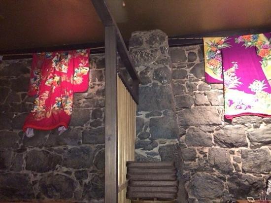 Kura Japanese Sake Bar: the wall with kimonos