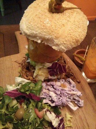 Krave Delicatessen: Massive burger. Sorry about photo quality.
