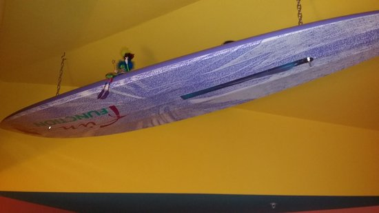 The Blue Water House: Surfboard on ceiling!
