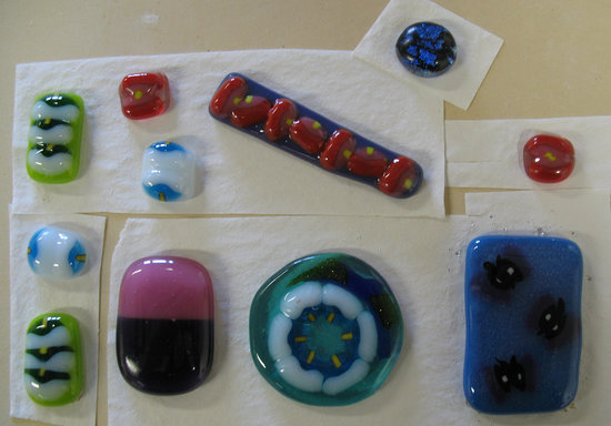 Cornwall School of Art, Craft and Jewellery: Student work from the glass fusing class
